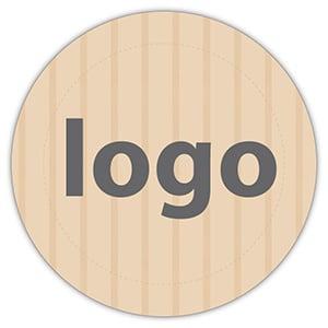 Etiket met logo 023, Rond Mat naturel etiket met uw logobedrukking 19 x 19