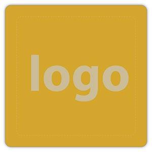 Etiket met logo 024 - Rechthoek, afgeronde hoeken Mat goudkleurig etiket met uw logobedrukking 25 x 25