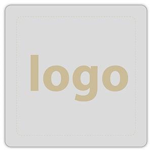 Etiket met logo 024 - Rechthoek, afgeronde hoeken Mat zilverkleurig etiket met uw logobedrukking 25 x 25
