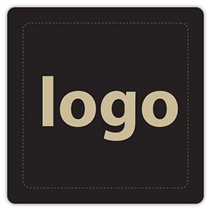 Etiket met logo 024 - Rechthoek, afgeronde hoeken Mat zwart etiket met uw logobedrukking 25 x 25