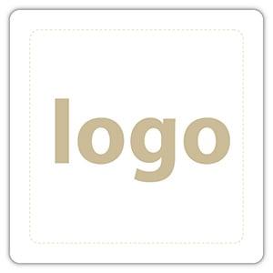 Etiket met logo 024 - Rechthoek, afgeronde hoeken Wit etiket met uw logobedrukking 25 x 25