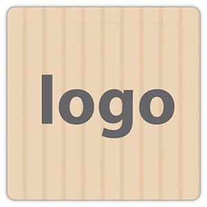 Etiket met logo 024 - Rechthoek, afgeronde hoeken Mat naturel etiket met uw logobedrukking 25 x 25