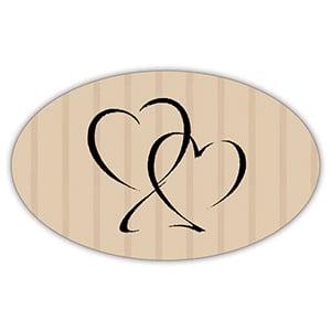 Etiquette adhésives avec des coeurs, ovale Papier havane vergé mat 39 x 24