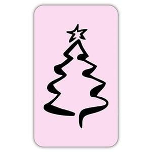Voorgedrukt etiket met kerstboom, rechthoekig Mat lichtroze etiket met bedrukking 32 x 19