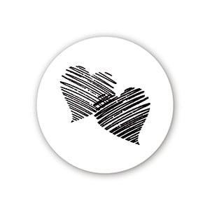 Etiquette adhésives avec des coeurs, ronde Blanc 32 x 32