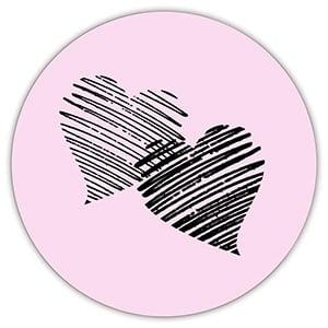 Voorgedrukt etiket met harten, rond Mat lichtroze etiket met bedrukking 32 x 32