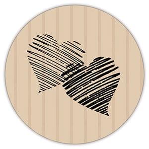 Etiquette adhésives avec des coeurs, ronde Papier havane vergé mat 32 x 32