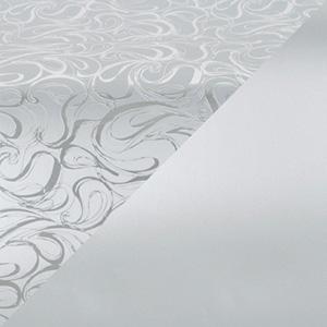 Cadeaupapier 1750 Zilver met krullenpatroon/mat zilver, dubbelzijdig  40 cm - 160 m