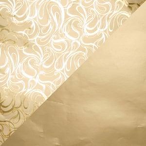 Papier cadeau nº 1751 Or avec motif bouclé/ or mat, réversible  20 cm - 160 m