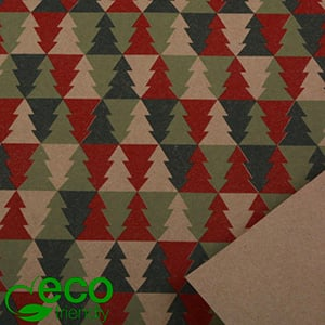 Eco-friendly Wrapping Paper nº 2601 ECO Christmas motif in green, red and plain brown  40 cm - 100 m