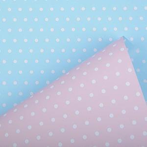Cadeaupapier voor kinderen 6301 Lichtroze/ Lichtblauw met stippen, dubbelzijdig  50 cm - 160 m - 80 g