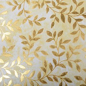 Cadeaupapier nº 6370 Wit/goud met bladprint  30 cm - 100 m - 80 g
