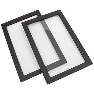 Wieczko do małej kasety sztuczna skórka Czarna sztuczna skórka z szybką 235 x 156 x 8