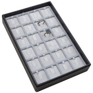 Mała kaseta na 24 pierścionki na haczykach Czarna wkladka / jasno-szary welur 156 x 235 x 32 Insert: 31,9x31,9x6