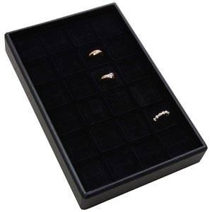 Mała kaseta na 24 pierścionki Czarna wkladka / czarna gabka 156 x 235 x 32 Insert: 31,9x31,9x10