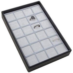Mała kaseta na 24 pierścionki Czarna wkladka / jasno-szara gabka 156 x 235 x 32 Insert: 31,9x31,9x10