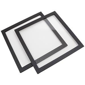 Couvercle pour moyen plateau de présentation Similicuir Noir avec fenêtre, ultralégers 235 x 235 x 8