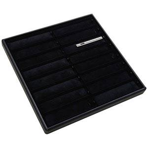 Moyen plateau présentation: 16x epingle cravate Plateau noir / Intérieur velours noir 235 x 235 x 18 Insert: 106x24x6mm