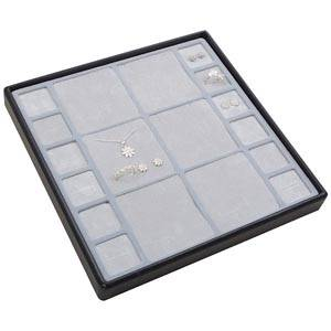 Moyen plateau présentation: Assorti de bijoux Plateau gris / Intérieur mousse gris clair 235 x 235 x 28 Insert: 67x70/31,9x31,9x10