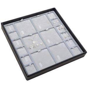 Medium tableau voor meerdere sets Lichtgrijze Partitie / Lichtgrijze Velours Insert 235 x 235 x 32 Insert: 67x70/31,9x31,9x6