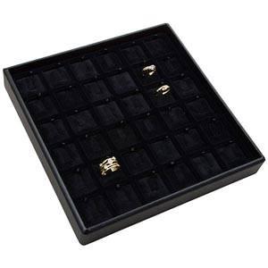 Medium tableau voor 36x ring, op clipje Zwarte Partitie / Zwarte Velours Insert 235 x 235 x 32 Insert: 31,9x31,9x6