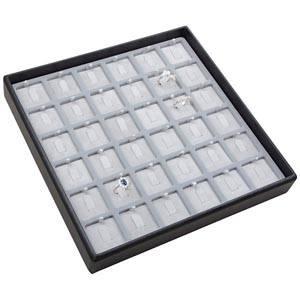 Moyen plateau présentation: 36x bague en crochet Plateau gris / Intérieur velours gris clair 235 x 235 x 32 Insert: 31,9x31,9x6