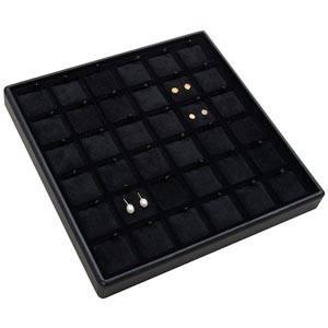 Medium tableau voor 36 paar oorsieraden Zwarte Partitie / Zwarte Velours Insert 235 x 235 x 28 Insert: 31,9x31,9x6