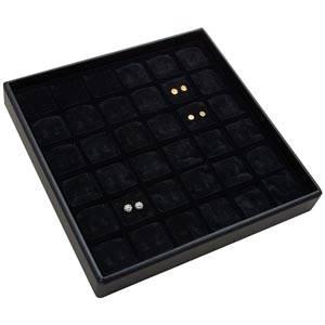Medium tableau voor 36 paar oorsieraden Zwarte Partitie / Zwarte Foam Insert 235 x 235 x 32 Insert: 31,9x31,9x10