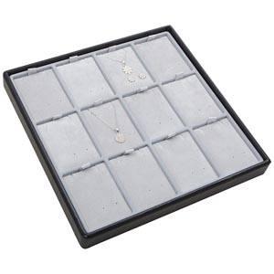 Moyen plateau présentation: 12x parures 3 pièces Plateau gris / Intérieur velours gris clair 235 x 235 x 28 Insert: 51,9x70x6 mm