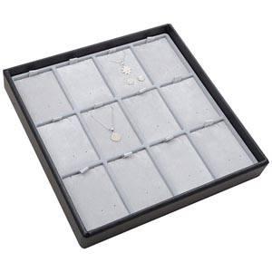 Medium tableau voor 12x sieradenset, staand Lichtgrijze Partitie / Lichtgrijze Velours Insert 235 x 235 x 32 Insert: 51,9x70x6 mm
