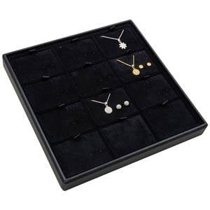 Medium tableau voor 12x sieradenset, liggend Zwarte Partitie / Zwarte Velours Insert 235 x 235 x 28 Insert: 70x51,9x6 mm
