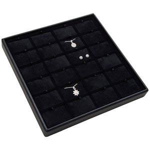 Medium tableau voor 24x sieradenset Zwarte Partitie / Zwarte Velours Insert 235 x 235 x 28 Insert: 51,9x33,3x6mm