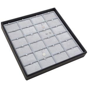 Medium tableau voor 24x sieradenset Lichtgrijze Partitie / Lichtgrijze Velours Insert 235 x 235 x 32 Insert: 51,9x33,3x6mm