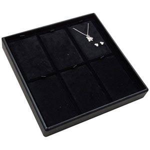 Medium tableau voor 6x sieradenset, staand Zwarte Partitie / Zwarte Velours Insert 235 x 235 x 32 Insert: 66,6x106,6x6mm