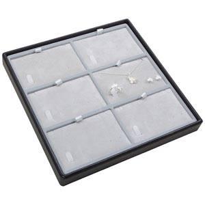Moyen plateau présentation: 6x parures 3 pièces Plateau noir / Intérieur velours gris clair 235 x 235 x 28 Insert: 106,6x66,6x6mm