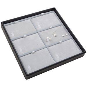 Moyen plateau présentation: 6x parures 3 pièces Plateau noir / Intérieur velours gris clair 235 x 235 x 32 Insert: 106,6x66,6x6mm