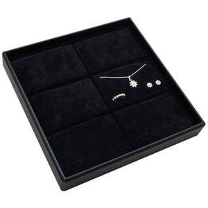 Medium tableau voor 6x sieradenset, liggend Zwarte Partitie / Zwarte Foam Insert 235 x 235 x 32 Insert: 106,6x66,6x10mm