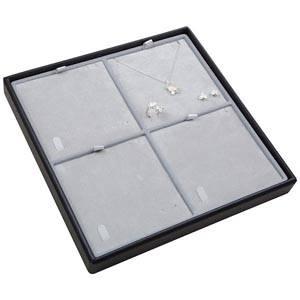 Moyen plateau présentation: 4x parures 3 pièces Plateau noir / Intérieur velours gris clair 235 x 235 x 28 Insert: 106,6x106,6x6 mm