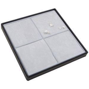 Medium tableau voor 4x sieradenset Lichtgrijze Partitie / Lichtgrijze Foam Insert 235 x 235 x 28 Insert: 106,6x106,6x10