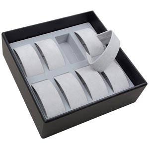 Średnia kaseta na 8 zegarków Czarna wkladka / jasno-szary welur 235 x 235 x 74 Insert: 38x88x35 mm