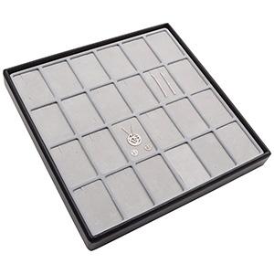 Moyen plateau présentation: 24x parures 3 pièces Plateau noir / Intérieur mousse gris clair 235 x 235 x 28 Insert: 51,9x33,3x10mm