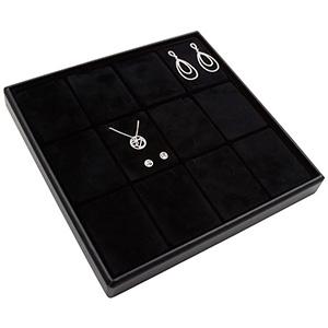 Medium tableau voor 12x sieradenset, verticaal Zwarte Partitie / Zwarte Foam Insert 235 x 235 x 28 Insert: 70x51,9x10