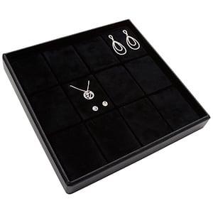 Medium tableau voor 12x sieradenset, verticaal Zwarte Partitie / Zwarte Foam Insert 235 x 235 x 32 Insert: 70x51,9x10