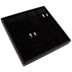 Medium tableau voor 24 paar trouwringen Zwarte Partitie / Zwarte Foam Insert 235 x 235 x 32 Insert: 51x33x10 mm