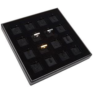 Medium tableau voor 16x ring, op clip Zwarte Partitie / Zwarte Velours Insert 235 x 235 x 28 Insert: 32x32x6 mm