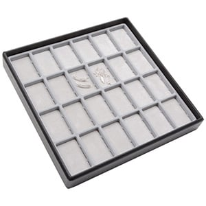 Medium tableau met 24 universele vakjes Lichtgrijze Partitie / Lichtgrijze Foam Insert 235 x 235 x 32 Insert: 59,9x33,3x4 mm