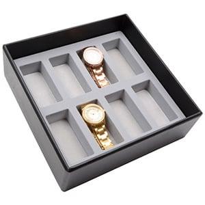 Medium tableau voor horloges, universele vakjes Lichtgrijze Partitie / Lichtgrijze Foam Insert 235 x 235 x 74 Insert: 38x88x4 mm