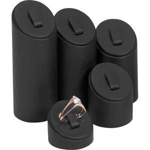 Ring Displays Set, 5 pcs Black Nappa leatherette