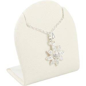 Présentoir à bijoux pour BO pendantes, moyen Gainé similicuir blanc 44 x 46