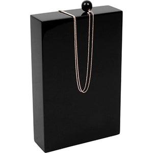 Presentatieblok voor sieraden, klein Hoogglans gelakt hout, zwart 110 x 170 x 35
